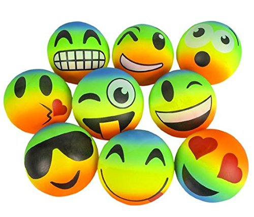 Emoji Rainbow Balls, 6 inches each, 3 pack- Great for playground , backyard, pool partys , beach days, gym class, kickball and more!