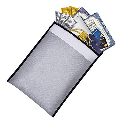 ag Fire Resistant Money Bag Fireproof Safe Storage with Zipper Protect Your Money Documents Jewelry and Passport 15