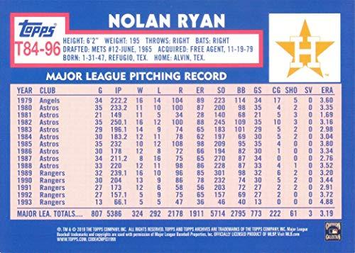 2019 Topps 1984 Topps Design #T84-96 Nolan Ryan Baseball Card Wearing a Retro Houson Astros Rainbow Jersey