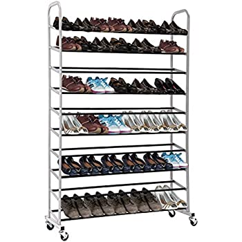 rolling shoe rack maidmax 10tier free standing 50 pairs tower storage organizer with