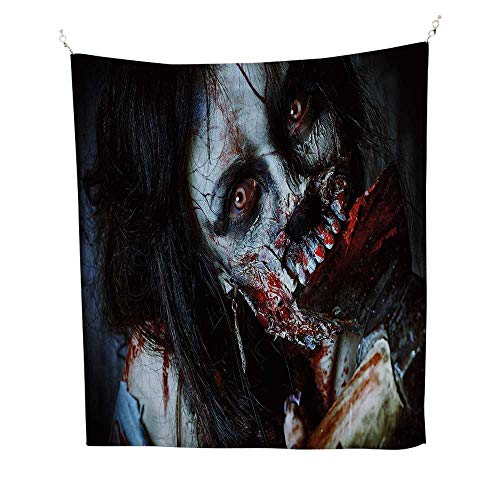 Zombie Decorsimple tapestryScary Dead Woman with Bloody Axe Evil Fantasy Gothic Mystery Halloween Picture 60W x 91L inch Art tapestryMulticolor