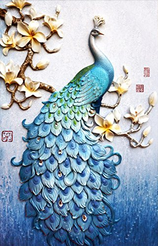 Faraway Peacock 5D DIY Crystal Diamond Rhinestone Painting Pasted Paint by Number Kits Animal Full Diamond Mosaic 40x60cm (Blue) ()