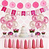 Comfy People Girl Baby Shower Decorations Set - It's a Girl Banner, Balloons, Paper Fans, Tassels, Light and Dark Pink, Baby Shower Decorations for Girl