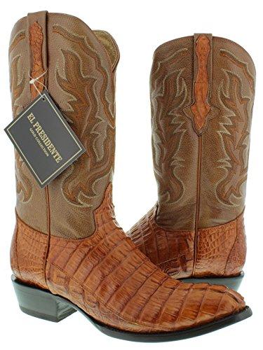 El Presidente Men's Cognac Genuine Crocodile Tail Skin Cowboy Boots Round Toe 14 EE (Skin Boots Alligator Cowboy)