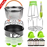 12 Pieces Accessories Set with Steamer Basket, Springform Pan, Egg Bites Mold, Egg Steamer Rack, Steamer Trivet, Kitchen Tongs, Oven Mitts, 3 Cheat Sheet Magnets – Compatible with Instant Pot 6,8 Qt