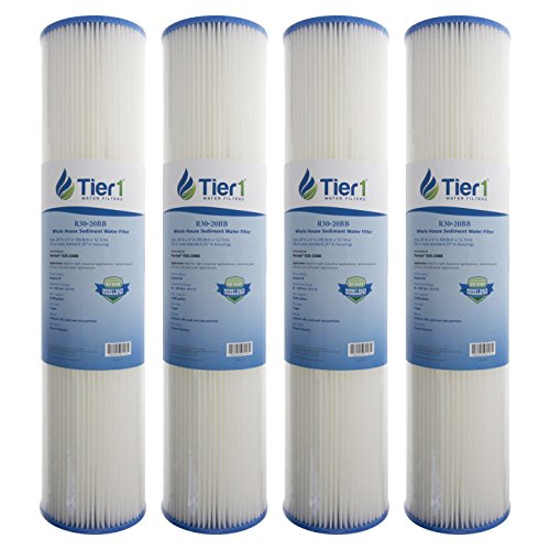 Tier1 R30-20BB 30 Micron 20 x 4.5 Pleated Polyester Sediment Pentek R30-20BB Comparable Replacement Water Filter 4 Pack - 20 Sediment Water Filters