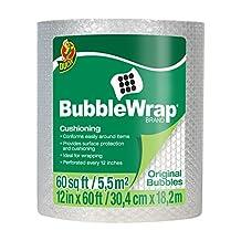 "Duck Brand Bubble Wrap Original Cushioning, 12"" Widex60' Long, Single Roll (1061835), Clear"