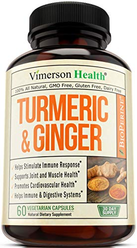 - Turmeric Curcumin with Ginger and Bioperine. Vegan Joint Pain Relief, Anti-Inflammatory, Antioxidant, Anti-Aging Supplement with 10 milligrams of Black Pepper for Better Absorption. Natural Non-GMO