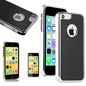 Luxury Brushed Matte Aluminum Chrome Hard Case Cover For Apple iPhone 5C With Screen Protector Guard - Black