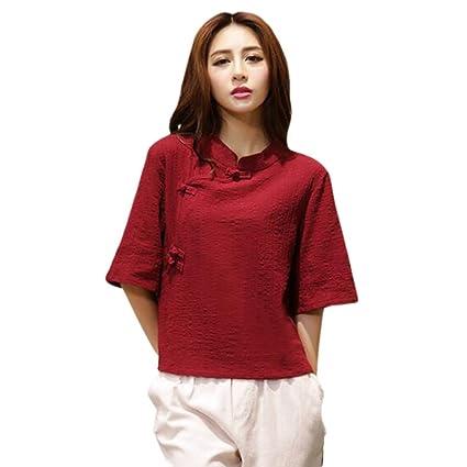 Hzjundasi Estilo chino Button Manga 3/4 Suelto Algodón Lino Camisa New Folk-custom Blusas: Amazon.es: Ropa y accesorios