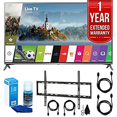 "LG 75UJ6470 75"" UHD 4K HDR Smart LED HDTV (2017 Model) w/ Extended Warranty Bundle Includes, 1 Year Extended Warranty, Flat Wall Mount Kit for 45""-90"" TVs, 2x HDMI Cable, Screen Cleaner for LED TVs"