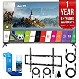 """LG 75UJ6470 75"""" UHD 4K HDR Smart LED HDTV (2017 Model) w/ Extended Warranty Bundle Includes, 1 Year Extended Warranty, Flat Wall Mount Kit for 45-90 TVs, 2x HDMI Cable, Screen Cleaner for LED TVs"""