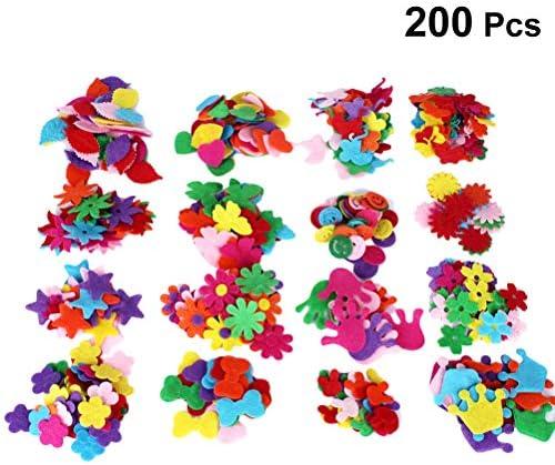 Healifty フェルト装飾盛り合わせシェイプ生地花蝶弓クラウン用diy工芸品服縫製200ピース