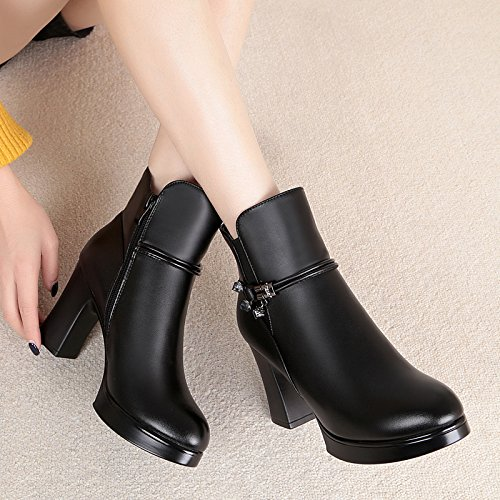 SQIAO-X- Durante la primavera e autunno inverno scarpe donna spesso con tacco alto stivali donna in pelle e cuoio di peluche lana elegante female ,35, spessa stivali neri.