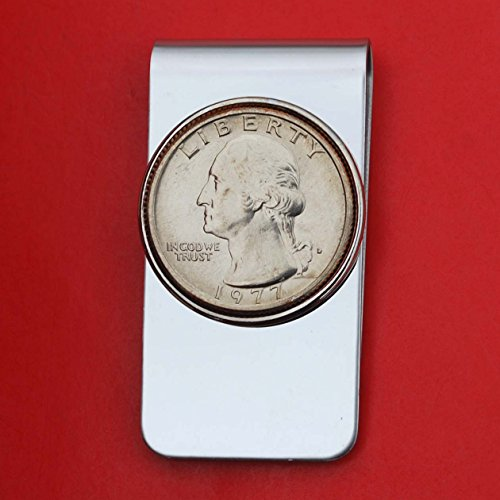 US 1977 Washington Quarter BU Uncirculated Coin Money Clip New ()