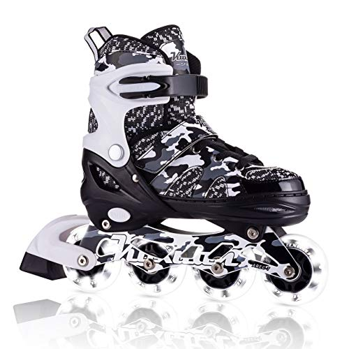 - Kuxuan Boys Camo Black & Silver Adjustable Inline Skates with Light up Wheels, Fun Illuminating Roller Blading for Kids Girls Youth - Large(3-6)