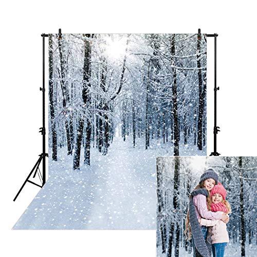 Allenjoy 5x7ft White Winter Wonderland Forest Landscape Backdrop for Photographers Studio Photography Pictures Snowy Path Snow Photo Background Newborn Children Family Portrait Photo Studio Booth ()