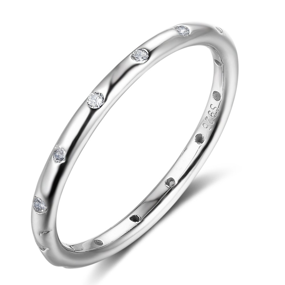 Furious Jewelry 925 Sterling Silver Simple Style CZ Band Ring, Ring Size 6 7 8 (6)