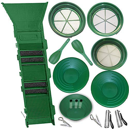 Sluice Fox 17 Piece Gold PAN PANNING KIT - Sluice Box; Classifiers; Pans; Tweezers; - Gold Box Sluice
