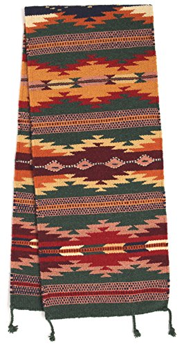 El Paso Designs Large Southwest & Native American Style Table Runner made from Hand Woven Wool. 16'' x 80'' (Dark Green H) by El Paso Designs