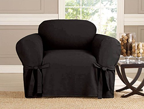 - Kashi Micro-Suede Slipcover Sofa Loveseat Chair Furniture Cover (Chair, Black)