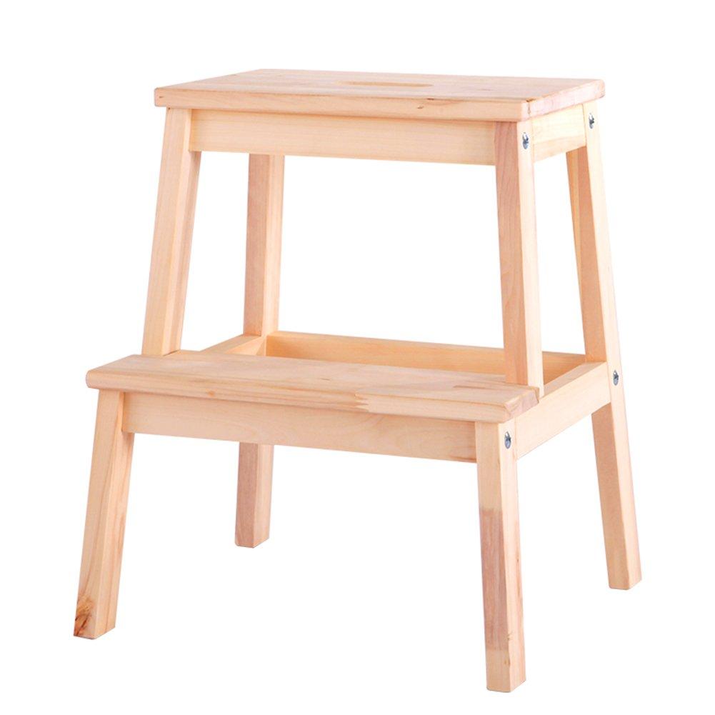 PENGFEI ステップスツールステップはしご階段 無垢材 多機能 ポータブル 家庭 靴屋 としょうかん フットスツール バスルーム、 2ステップ、 2色展開 脚立 踏み台ステップ チェア (色 : 木の色) B07DHMW87Q木の色