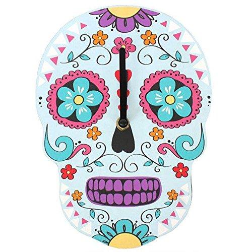 Sugar Skull Gothic Day of Dead Candy Blue White Pink Purple Wall Clock (Sugar Skull Bedroom Decor)