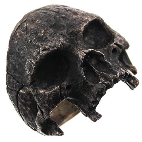 RingSize 10 Mens Masonic Half Skull Dark Patina 925 Sterling Silver Biker Ring, US 9-13 ()