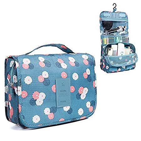 Nicedeal -Toiletry Bag Multifunction Cosmetic Bag Portable Makeup Pouch Waterproof Travel Hanging Organizer Bag for Women Girls, Blue Flowers Make-up ...