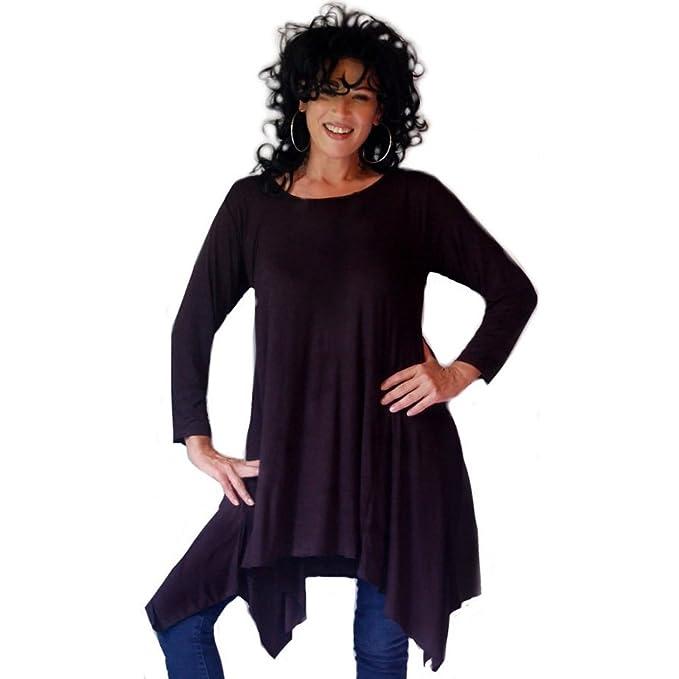 Camisa Top Blusa LICRA Sexy Lagenlook estilo [H431] Negro negro