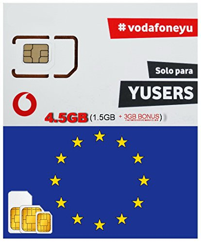 EUROPE SIM CARD VODAFONE SPAIN 4.5GB (1.5GB + 3GB IF ACTIVATED BEFORE 03/21/ 2018) DATA 4G SPEED + 15 MIN NATIONAL CALLS - FREE INCOMING CALLS - VALID 28 DAYS FROM ACTIVATION DATA