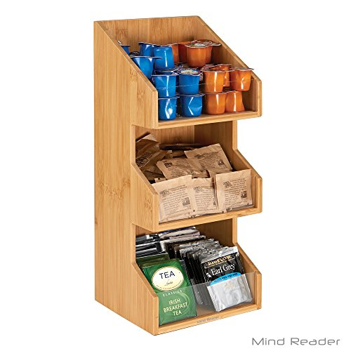 - Mind Reader Coffee Condiment and Accessories Caddy Organizer, Bamboo Brown