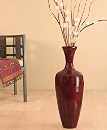 GreenFloralCrafts 27 Inch Slender RED Bamboo Floor Vase & DIY Floral - Red Vase