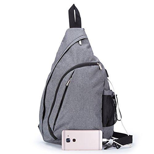 - TECHQ Sling Bag - Small Laptop Travel Backpack external USB Charging Port (Grey)
