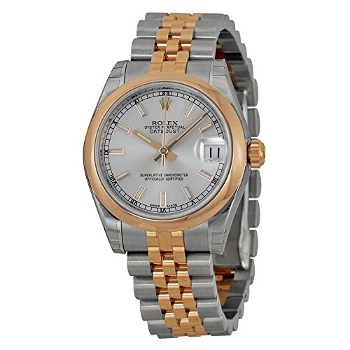 Rolex Oyster Perpetual Datejust Silver Dial Stainless Steel 18kt Pink Gold Ladies Watch 178241SSJ