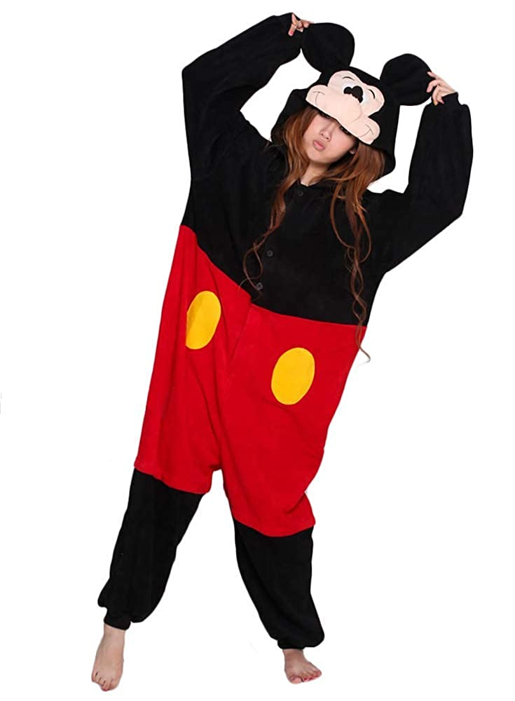 b1a74fc3b1e Amazon.com: Mickey & Minnie Mouse Onesie Costume for Adults and Teens.  Black: Clothing