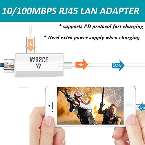 Lightning to RJ45 Ethernet LAN Wired Network Adapter, iPhone Ethernet Adapter, Fast Charging Lightning to RJ45 Ethernet Converter with Lightning Female Interface Charge Cable for iPhone/iPad by VABSCE (Image #3)