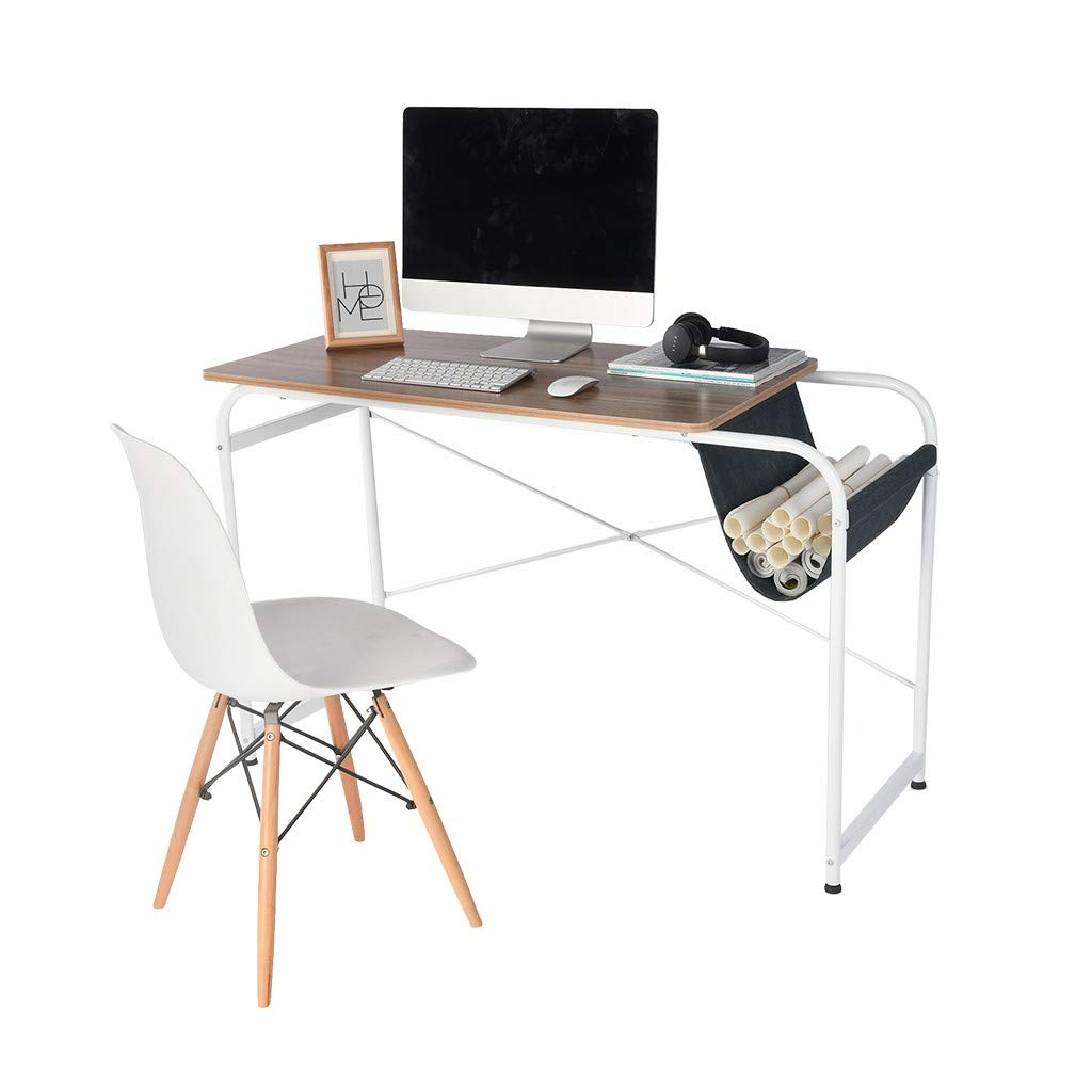 Hstore Home Desktop Computer Desk Modern Simple Study Desk with Cloth Bag Storage Laptop Study Table Office Desk Industrial Style Table for Home Office Notebook Desk (US Stock)