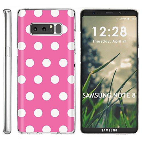 [Mobiflare] Ultraflex Thin Gel Phone Cover for Samsung Galaxy Note 8 2017 [Clear] Case [Pink White Polka Dots Print] ()