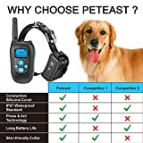 Peteast Remote Dog Training Collar, Rechargeable and All-Weather Resistant E-Collar Trainer with Beep, Vibration, and Shock for All Size Dogs (10Lbs - 100Lbs), 1000ft Range
