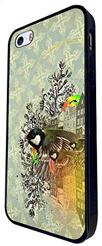 1212 - Retro Vintage Shabby Chic Birds Family Design iphone SE - 2016 Coque Fashion Trend Case Coque Protection Cover plastique et métal - Noir