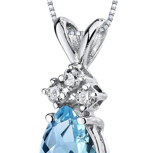 Revoni 14ct or blanc 585/1000 en forme de poire 0.75 Carats Suisse topaze bleue diamant pendentif Collier