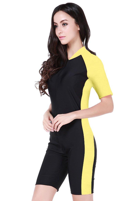 Cokar 水着 半袖 ワンピース型 スイムスーツ B00WZX5PLY Asian 2XL = US XL|Yellow Black-Women