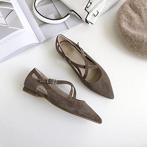 Angrousobiu unique et sauvage pointe Low foncé Light Femme cuir Croix Marron des Chaussures en plates Bracelet chaussures r8w6zqr