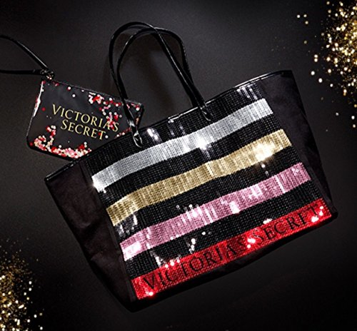 Victoria's Secret Bling Stripe Sequin Carryall Tote W Mini Bag Set Black/Red