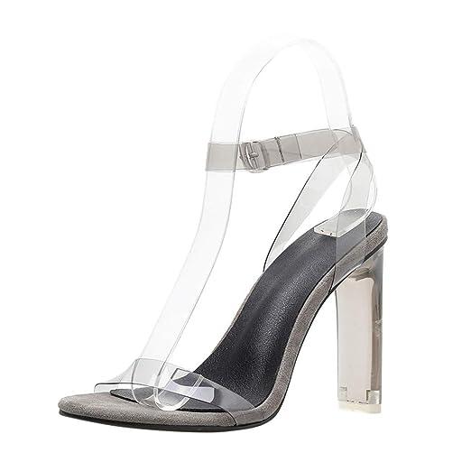 3fefd325821c DENER❤ Women Ladies Summer Clear Sexy Sandals Stiletto Pumps ...