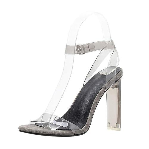 a3e87419d25 Amazon.com | Women High Heel Sandals NEWONESUN Clear Open Toe Summer ...