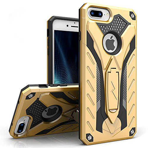 Zizo Static Series Compatible with iPhone 8 Plus case Heavy Duty Shockproof Military Grade Drop Tested with Kickstand iPhone 7 Plus case Gold