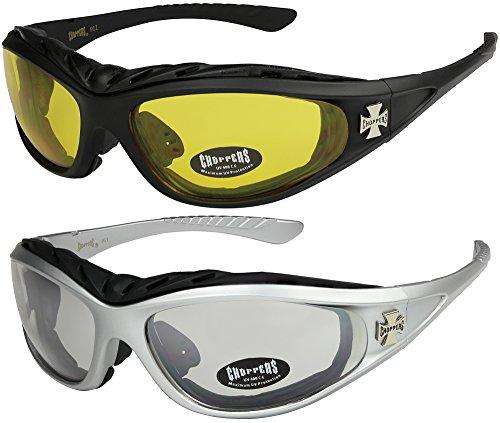 03 tintado 1x Choppers acolchado gafas bici de 1x nocturnas y casi Modelo acolchadas moto amarillo negro 03 Modelo Modelo con hombre sol 05 mujer plata transparente de 05 2 Pack qHH7r6f