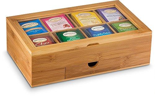 Tea Organizer Bamboo Tea Box with Small Drawer 100% Natural Bamboo Tea Chest - Great Gift Idea - By Bambusi by Bambüsi (Image #2)